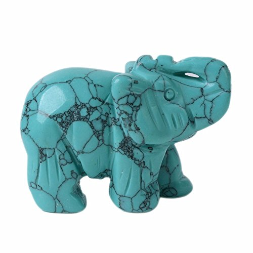 Justinstones Carved Green Blue Synthetic Turquoise Elephant Healing Guardian Statue Figurine Crafts 2 inch