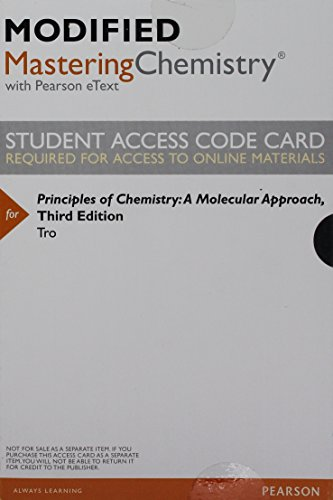 Download Modified Mastering Chemistry with Pearson eText -- ValuePack Access Card -- for Principles of Chemistry: A Molecular Approach 0133925935