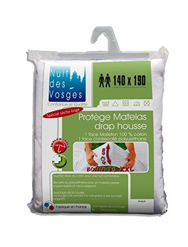 Nuit des Vosges Arnaud Protège Matelas Drap Housse Imperméable avec Bonnets Extra-Larges 40 cm Coton Blanc 190 x 140 cm