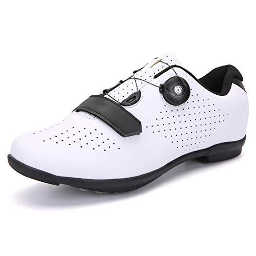 ZYSM Zapatillas de Ciclismo de montaña para Hombre, compatibles con Tacos SPD, Buenas para Bicicleta de Spinning, Todoterreno y MTB,White b,40