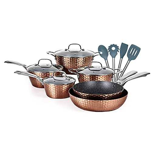 LovoIn 14 pcs Cookwares, Pots and Pans Set Has a non-stick, durable and Anti-Scalding Surface New Version of Hammer Fryer, induction Dishwasher/Oven/Stovetop