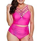 Conjunto De Bikini Sólido para Clásico Talla Mujer Grande Shell Slim Brasileño Traje De Baño para Mujer Traje De Baño (Color : Hot Pink, One Size : Eu-38/Cn-Xl)