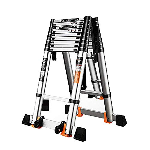 ESSEASON Aluminum Telescopic Extension Ladder, Foldable Industrial Compact Loft Ladder with Stabilizer Bar, 330 Pound Capacity (Size : 3.9m/12.8ft)