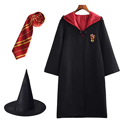 FStory&Winyee Harry Potter Kostüm Umhang Kinder Erwachsene Unisex Gryffindor Hufflepuff Ravenclaw Slytherin Outfit Set Cape,Krawatte,Hexe Hut Halloween