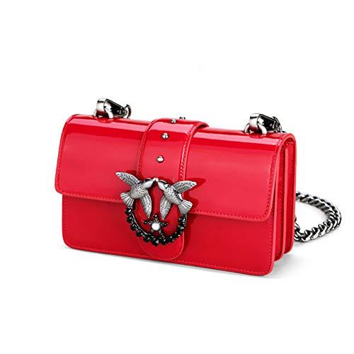 WUDIXIAOMEIZI Damen Spiegel Leder Metall-Schultertasche, Kette Diagonal Tasche, Mode-Schwalbe-Tasche Kleine Quadratische Tasche, Große Kapazität Handtasche,Red,S