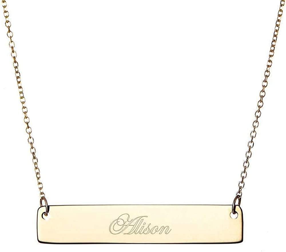 Gold Plated Custom Engraved Name Bar Necklace, 16