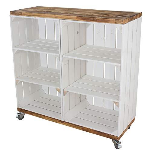 Regal aus 2 hohen weißen Kisten mit 2 Mittelbrettern und geflammten Bohlenbrett auf Rollen 79x80x31cm Obstkisten Weinkisten