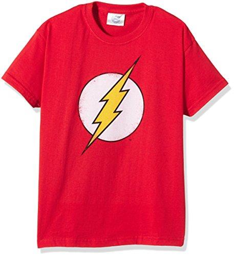 DC Comics Distressed Flash Logo, Camiseta para Niños, Rojo (rot), 11-12 años (146/148 cm)