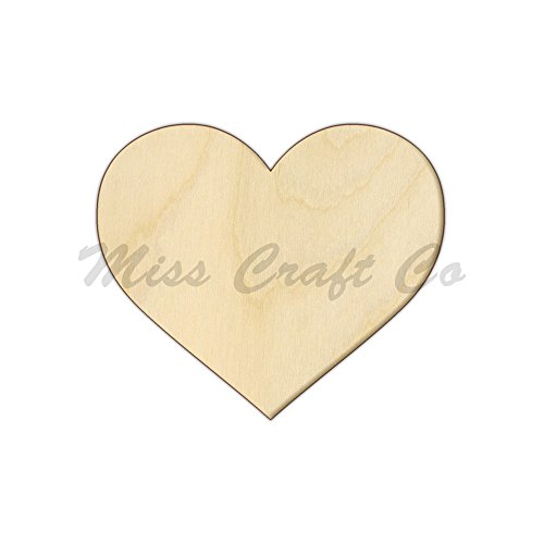 Heart Wood Shape Cutout, Wood Craft Shape, Unfinished Wood, DIY Project. All Sizes Available, Small to Big. Made in the USA. 9 X 9 INCHES