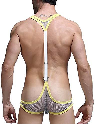 JFAN Tanga Hombre Calzoncillos Hombre Slip Tirantes Disfraz de Mankini de Borat Tanga Traje Bóxer Lencería Body para Hombre