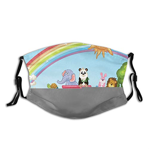 Comfortable Activated Carbon mask,Colorful Cartoon Animal Train Rainbow Sun Sky Mushrooms Flowers Tree Playful Funny,Printed Facial decorations for adult