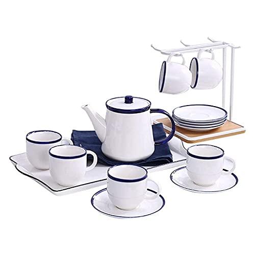 WYZQ Juego de té Juego de té de cerámica Juego Taza de Agua Hogar Sala de Estar Juego de té de la Tarde Juegos de té de Regalo (A)