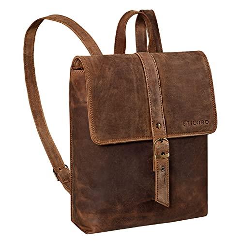 STILORD 'Mathilda' Zaino Donna Antifurto Pelle Zainetto Vintage Daypack da Lavoro Scuola Backpack in Cuoio Retrò Classico Resistente Elegante, Colore:marrone medio