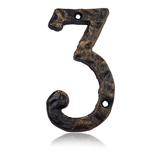 Hausnummern aus massivem Gusseisen, 15,2 cm, einzigartige Hammeroptik mit individueller unregelmäßiger Handarbeit, antikes Messing-Finish, Number 3
