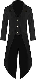 Aniywn Men's Steampunk Gothic Jacket Vintage Tailcoat Tuxedo Uniform Halloween Party Costume Coat