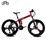 B-D Bicicletas Plegables Estudiante Unisex Bicicleta de Montaña Plegable, Marco de Acero de Alto Carbono, 21 Velocidades, Absorción de Impacto, Sistema de Frenos de Seguridad,Rojo,24inch