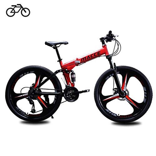 B-D Biciclette Pieghevoli Studente Unisex Mountain Bike Pieghevole, Telaio in Acciaio Ad Alto Tenore di Carbonio, 21 velocità, Assorbimento degli Urti, Sistema Frenante di Sicurezza,Rosso,24inch
