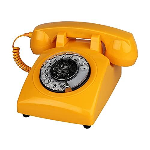 TAIJU-CHENCHEN Teléfono fijo retro de diseño rotativo for el hogar, teléfono antiguo con cable con tecnología clásica de botones de timbre de metal, dial rotatorio Vintage Teléfono antiguo de moda for