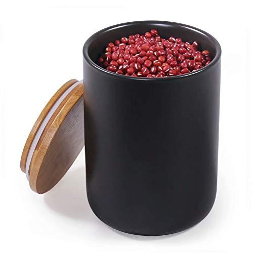 77L Keramik Vorratsdose, 720ML (23.34 FL OZ) Luftdichte Lebensmittelaufbewahrung Kanister mit Aufbewahrungstasche und Holzdeckel, Tragbare Keramik Vorratsdose für Gewürz, Kaffee und mehr (Schwarz)
