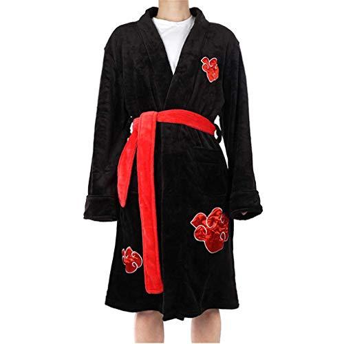 Naruto Akatsuki/Uchiha Itachi/Namikaze Minato Anime Cosplay Bademantel Halloween Weihnachten Party Kostüm Naruto Akatsuki Kostüm Cape Cosplay Cloak Bathrobe Pyjama Sleepwear Jacke (XL,Schwarz)