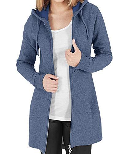 Kidsform Jacke Damen Hoodie Pullover Sweatshirt Kapuzenpullover Sweatjacke Mantel Herbstjacke Outwear Blau L