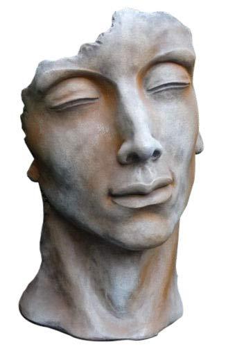 Skulptur Portrait Gesicht Mann H53cm Rosteffekt Steinguss Steinfigur Vidroflor Gartenskulptur + Original Pflegeanleitung von Steinfigurenwelt Giessen