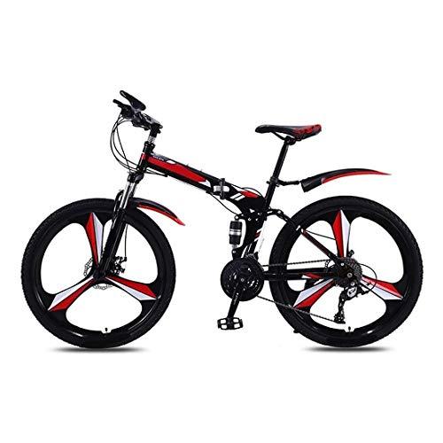 26 Pulgadas Bicicleta Bici Ciudad Plegables Adulto Hombre Mujer, Bicicleta de Montaña Btt MTB Ligero Folding Mountain City Bike Doble Suspension Bicicleta Urbana Portátil, H078ZJ
