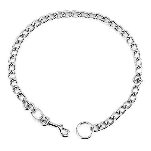 HAPPY HACHI Starke Verchromte Würgehalsbänder Verstellbare Schlange Hund Halsbänder Metall Kragen Hundetraining Haustier Neckrope (S)