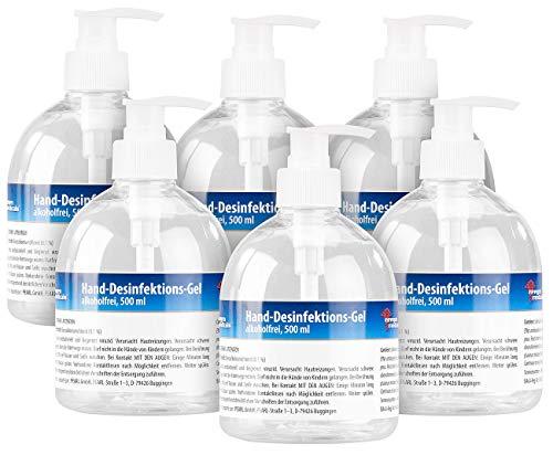 newgen medicals Hautdesinfektionsmittel: 6er-Set Hand-Desinfektions-Gels im Spender, alkoholfrei, je 500 ml (Desinfektions-Spenderflasche)