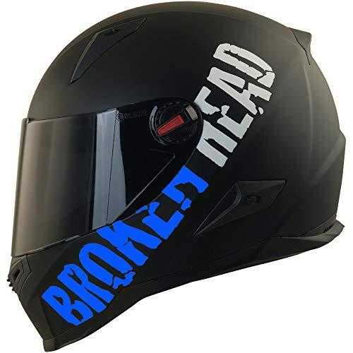 Broken Head BeProud Blau Ltd - Schlanker Motorradhelm Mit Schwarzem Zusatz-Visier - Matt-Schwarz - Größe S (55-56 cm)