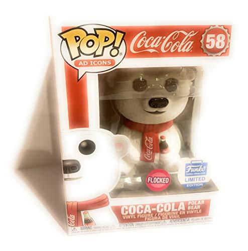 Funko POP! Iconos publicitarios: Coca-Cola Oso Polar [Flocked] #58 Edicion Limitada Exclusiva Incluido con PET Compatible con Protector Extra Aparejado de 50 mm