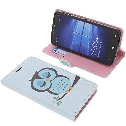 foto-kontor Tasche für Alcatel One Touch Idol 4 Pro Book Style Eulen blau Schutz Hülle Buch