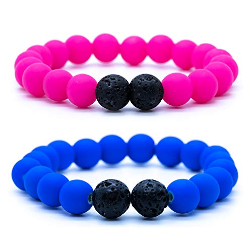 Price comparison product image Mana Vibes Kids Beaded Bracelet for Kids,  Silicone and Lava Rock Beads (Blue)