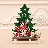 JJZXD 1 PC Adornos de Madera Decoración de árbol de Navidad Colgante de Madera ensamblada con Trineo for el hogar (Color : B, Size : 11.5 * 11cm)