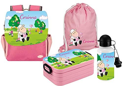 Mein Zwergenland Set 5 Kindergartenrucksack mit Brotdose Maxi, Turnbeutel und Flasche Happy Knirps NEXT Print mit Name Schaf, 4-teilig, Pink