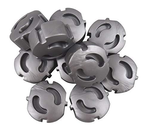 20 protectores de enchufe – Protección para niños – Cubierta de enchufe – Tapa enchufable – (gris plata x 20)