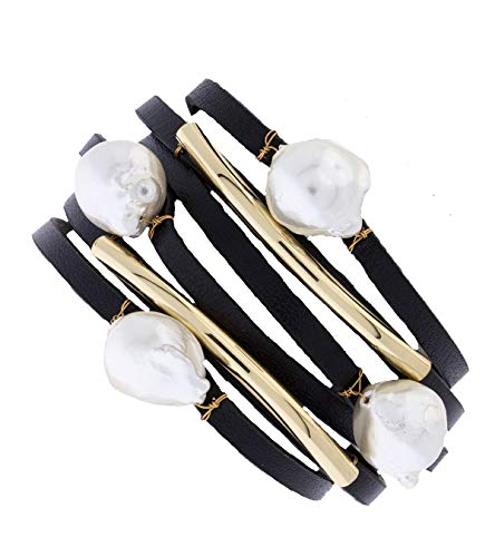 Saachi Multi-Strand Achai Pearl Double Wrap Leather Handmade Bracelet - Black/Pearl