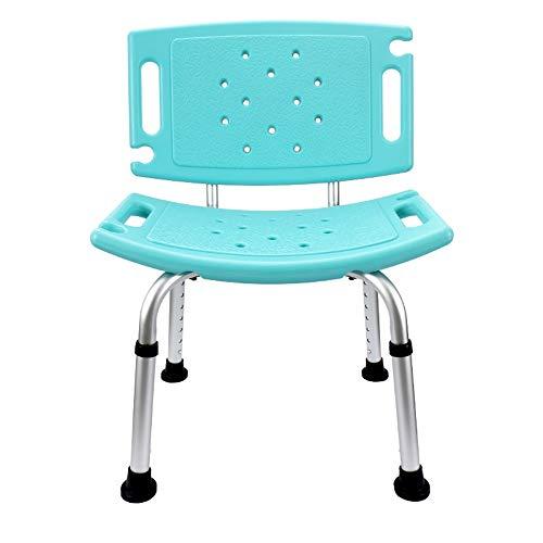 WiaLx Badezimmer Sicherheits-Duschwanne Bank-Stuhl mit Rücken Duschstuhl Badesitz Dusch Badestühle (Color : Green, Size : 51cm)