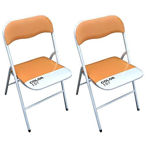 Milani Home s.r.l.s. Set di 2 Sedie Slim Pieghevoli Arancio Color 157 con Comoda Imbottitura nella Seduta per Ospiti, Ufficio, Casa, Campeggio