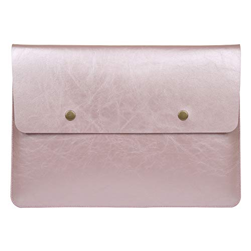 Soyan Retro Leather Laptop Sleeve for 13-Inch MacBook Pro 2012-2015 and 13-Inch MacBook Air 2011-2017, Fits Model A1466/A1502/A1425 (Rose Gold)