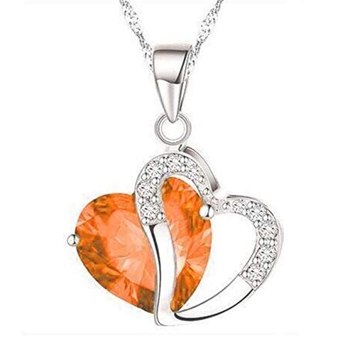 Heart Necklace for Women, Love Heart Pendant with Cubic Zirconia and Infinity Necklace, 925 Sterling Silver Heart Necklace for Girlfriend