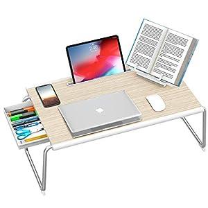 Nulaxy Bandeja plegable para ordenador portátil con cajón de almacenamiento y soporte para libros para cama y sofá, escritorio, escritorio, portátil, escritura, estudio, comida, soporte de lectura