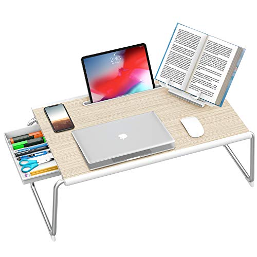 Nulaxy Laptop Bed Tray Desk,Foldable Laptop Bed Tray Table with Storage Drawer and Book Stand for Bed & Sofa, Working, Writing, Gaming, Drawing(XXL Large,White Oak)