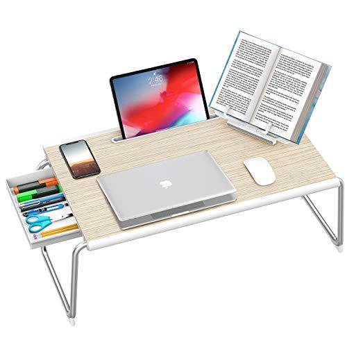 NULAXY Laptop Betttisch, Faltbarer Laptop Tisch Klapptisch Verstellbarer Lapdesk mit Schublade und Bücherständer für Bett & Sofa, Arbeiten, Schreiben, Spielen, Zeichnen (XXL groß, Weiße Eiche)