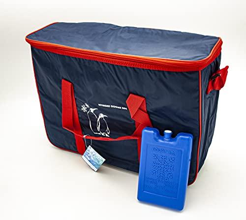 Bolsa Nevera Isotérmica para Camping y Piscina + Conservador Frio de 500ml. Bolsa Porta Alimentos Tejido Oxford y Forro de lámina de PEVA ecológica. (Azul Marino 24L + acumulador frío 500ml)