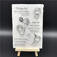 バースデーガール透明クリアシリコンスタンプ/DIYスクラップブッキング用シール/フォトアルバム装飾用クリアスタンプシートA522