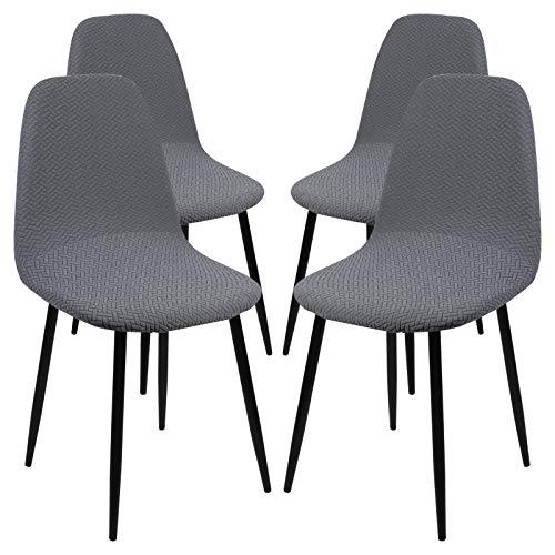 Ryoizen Jacqaurd - Funda para silla con respaldo, elástica, elegante, para comedor, oficina, con respaldo redondo, lavable, para casa (gris, 4 unidades)