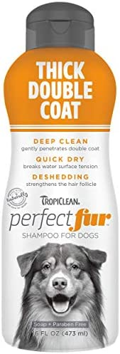 TropiClean PerfectFur Thick Double Coat Shampoo for Dogs 16oz Use with Undercoat Rakes Deshedding product image