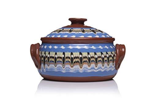 Zenis - Bulgarischer Schmortopf mit Deckel, Tontopf zum Kochen, runder Dampfgar-Bräter, backofengeeignet, Steintopf aus Naturton, traditionelles Kunsthandwerk, Ø 23 cm, 3L Blau