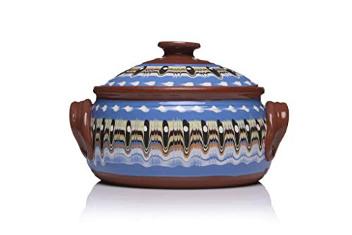 Zenis Bulgarian Casserole Pot for Cooking, 3 Litres Natural Roasting Dish, Diameter 23 cm (Blue)